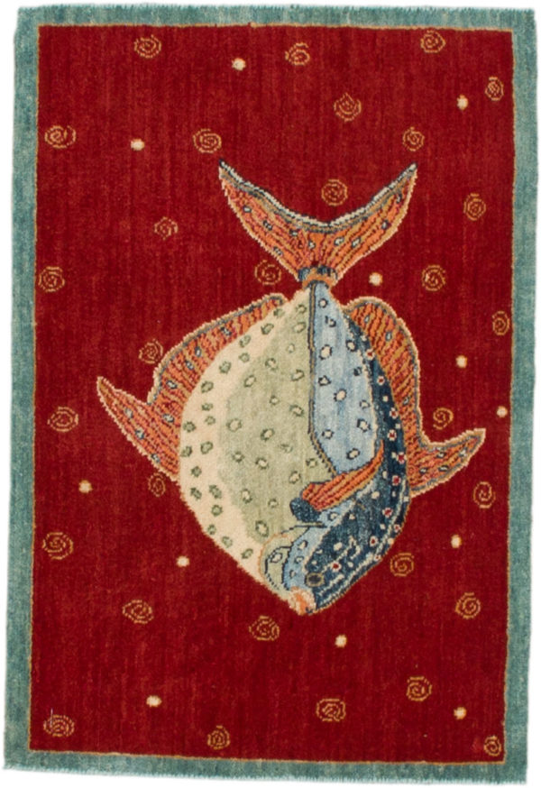 India Agra Tropical Fish 2x3 Red Wool Area Rug