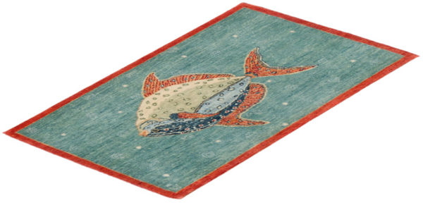 India Agra Tropical Fish 2x3 Teal Wool Area Rug