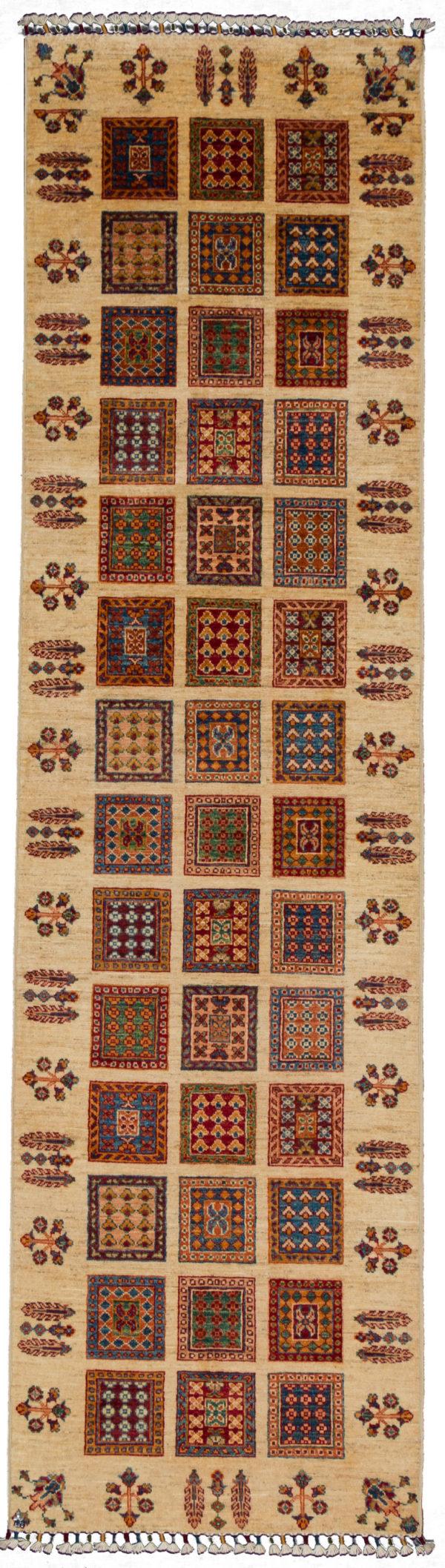 Pakistani Khorjin Runner Ivory Wool Area Rug