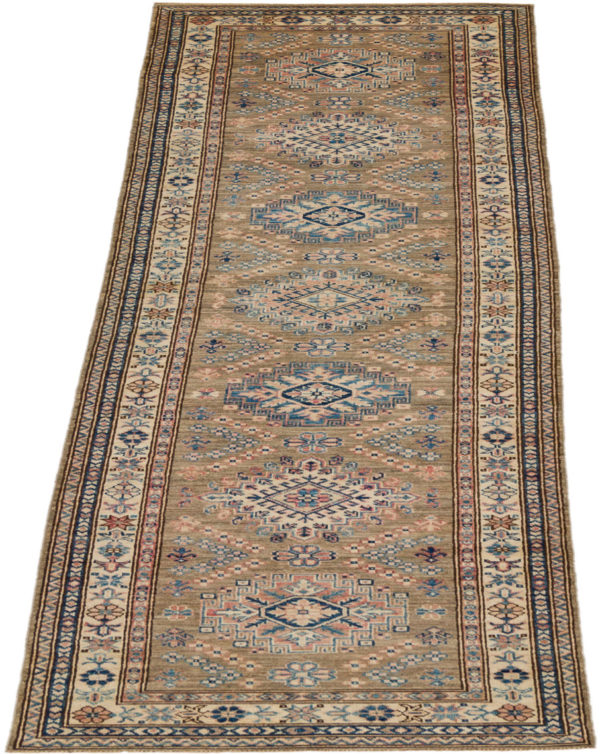 Pakistani Super Kazak Runner Taupe Wool Area Rug