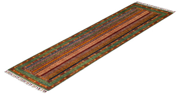 Pakistani Khorjin Runner Green Wool Area Rug