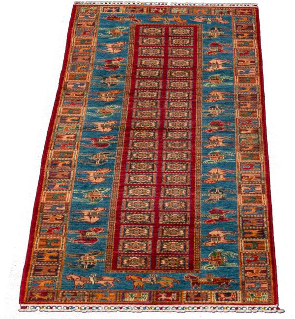Pakistani Pazyryk Runner Red Wool Are Rug