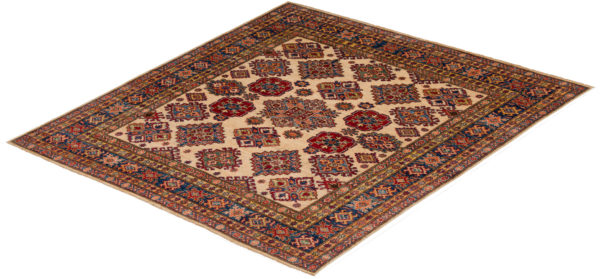 Pakistani Super Kazak 6x6 Ivory Wool Area Rug