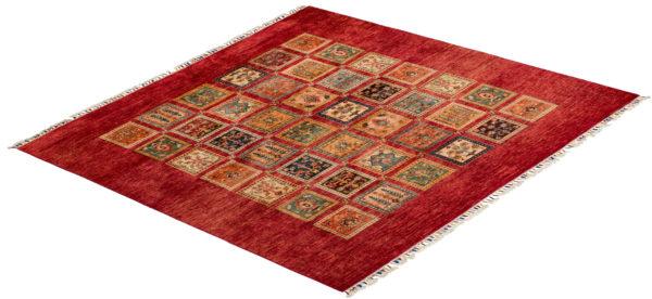 Pakistani Khorjin 6x6 Red Wool Area Rug