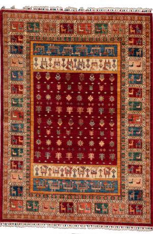 Pakistani Khorjin 6x9 Red Wool Area Rug