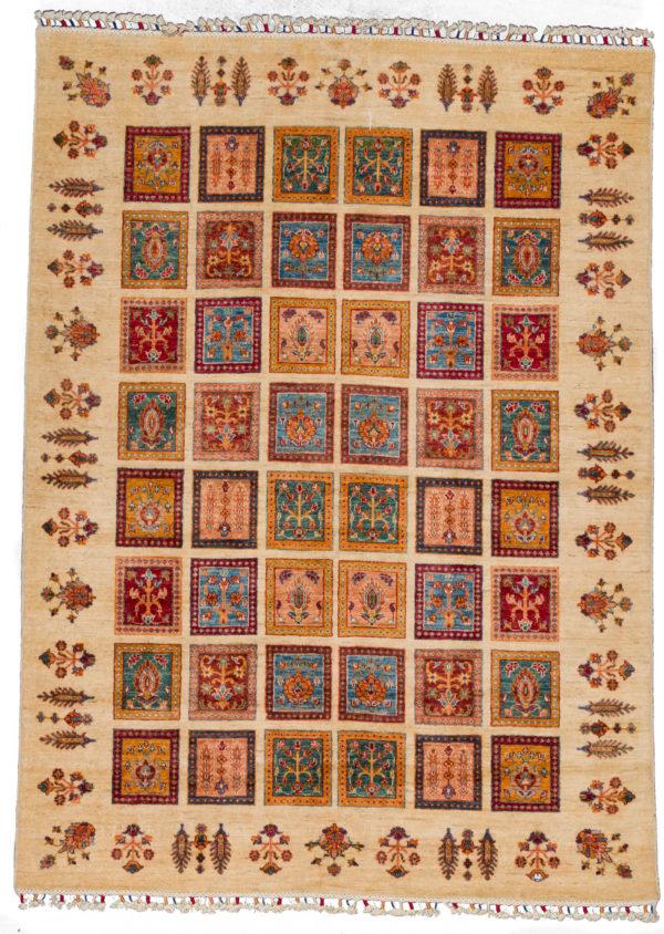Pakistani Khorjin 6x9 Ivory Wool Area Rug