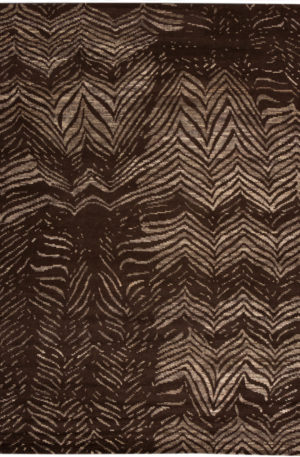 Contemporary Nepal 8X10 Brown Wool Area Rug