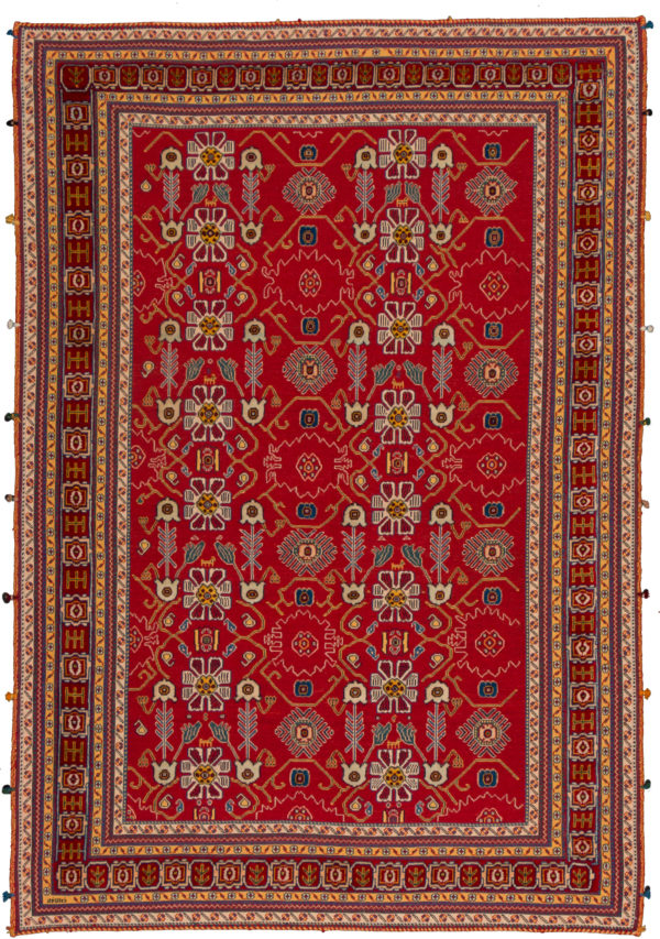 Persian Baluch Soumak 5X8 Red Wool Area Rug