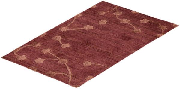 Contemporary 2X3 Purple Wool Area Rug