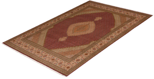 Persian Tabriz 8X10 Ivory and Gray Wool Area Rug