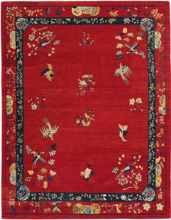 Nepal 8X10 Red Wool Area Rug