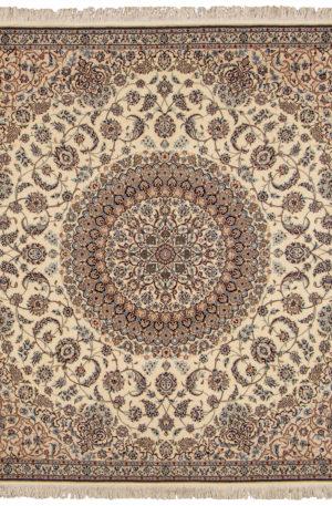 Persian Nain 6X6 Square Ivory Wool Area Rug