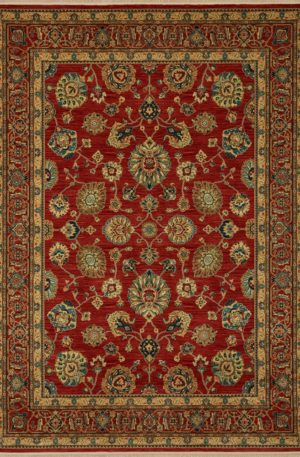 Traditional 6X9 Red Wool Area Rug