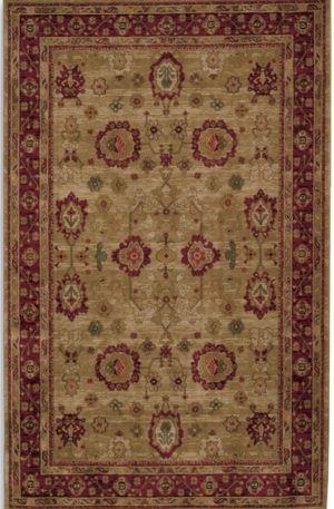Traditional 6X9 Beige and Red Wool Area Rug
