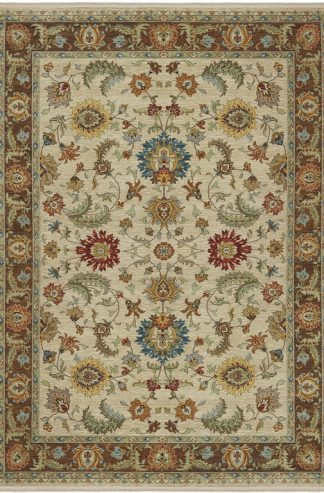 Traditional 8X10 Ivory Wool Area Rug