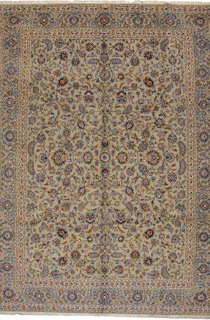 Persian Kashan 10X14 Green Wool Area Rug