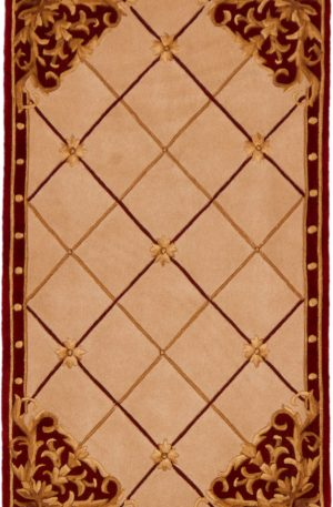 Chinese 3X5 Beige Red Wool Area Rug
