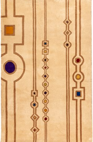Contemporary 4X6 Ivory Wool Area Rug