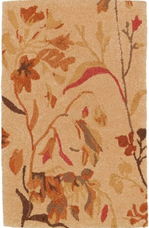 Tufted Contemporary 2X3 Beige Wool Area Rug