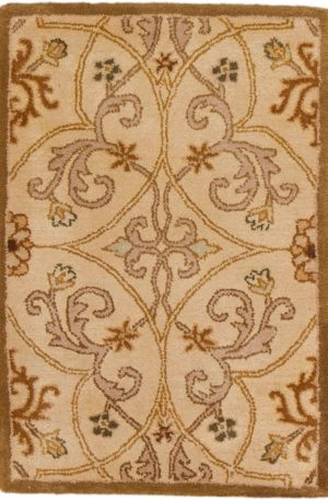 Transitional 2X3 Gold Yellow Wool Area Rug