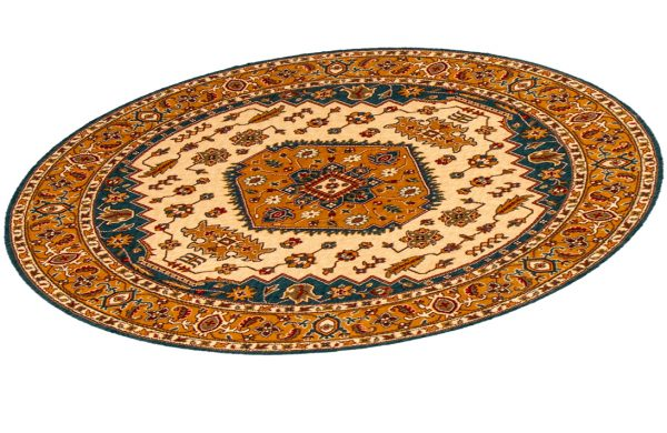 Traditional 4X6 Blue and Gold Wool Area Rug