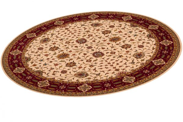Floral 8' Round Ivory Wool Area Rug