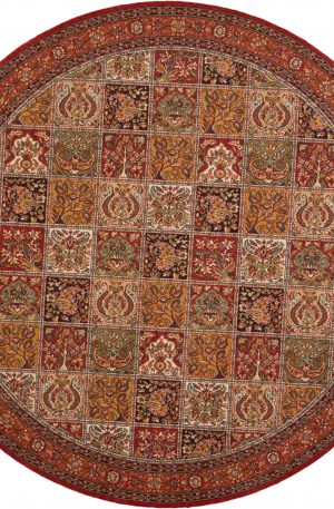 8' Round Multi Color Wool Area Rug