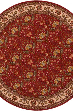 5 Foot Round Red Wool Area Rug