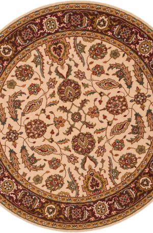 Traditional 5' Round Ivory Wool Area Rug