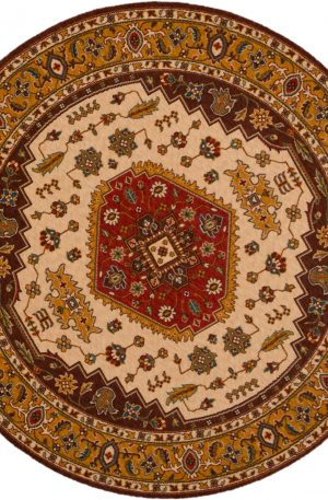Traditional 5' Round Brown Wool Area Rug
