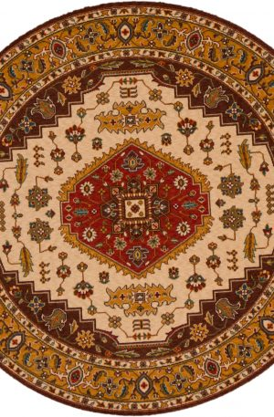 5 Foot Round Brown Gold Wool Area Rug