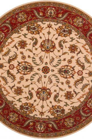 Traditional 8' Round Ivory Pink Wool Area Rug
