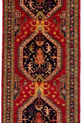 Afghan Runner Red Blue Wool Area Rug