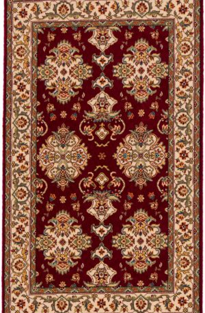 Traditional 3X5 Red Ivory Wool Area Rug