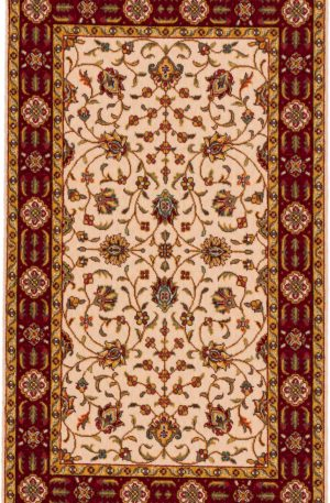 Traditional 3X5 Ivory Red Wool Area Rug