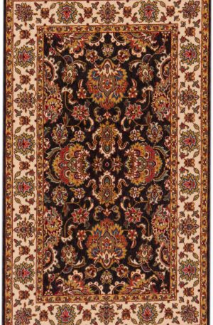 Traditional 3X5 Black Ivory Wool Area Rug