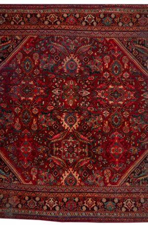 Iran Hamadan Square Red Wool