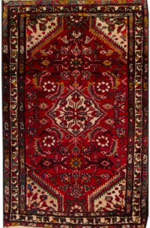 Iran Hamadan 2x4 Red Wool Area Rug