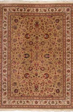 Indo Tabriz 8x11 Gold Wool Area Rug