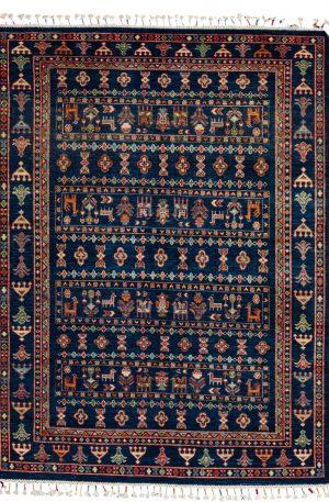 Pakistani Khorjin 5x7 Navy Wool Area Rug
