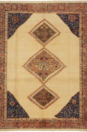 Turkish Oushak 9X12 Ivory Wool Area Rug