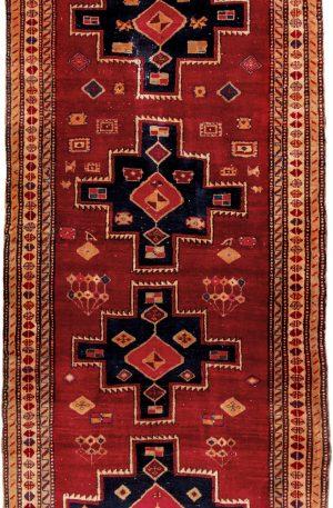 Antique Ardebil 4x10 Red Wool Area Rug