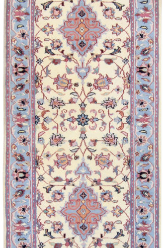 "Indo Kashan 2'6""x8'4"" Off White Area Rug"