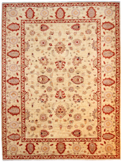 Hand Knotted Chobi 8' x 10' Red Beige Area Rug