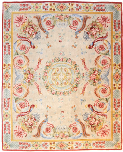 """Savonnerie Design 7'11"""" x 10' Hand Knotted Wool Area Rug"""