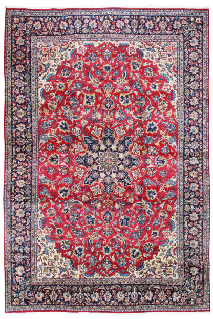 Persian Isfahan 10 x 14 Red Blue Area Rug