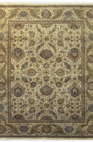 Hand Knotted Fine Jaipur 8x10 Beige Moss Area Rug