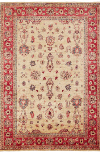 Hand Knotted Chobi 5x8 Rose Beige Area Rug