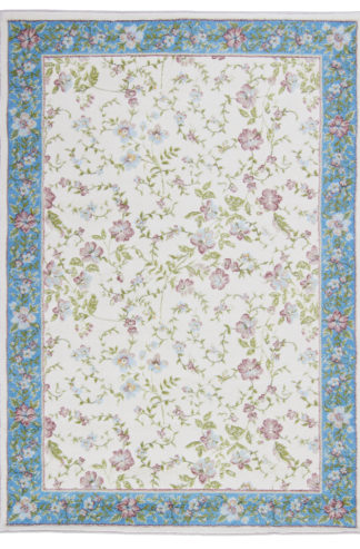 Floral Design 5x8 Ivory Blue Area Rug
