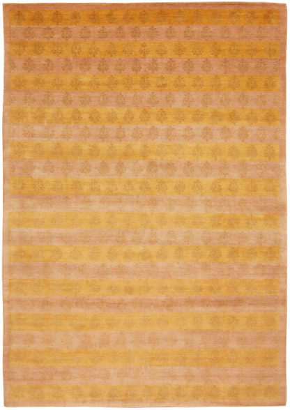 Hand Knotted Tibetan 8'x10' Wool & Silk Area Rug